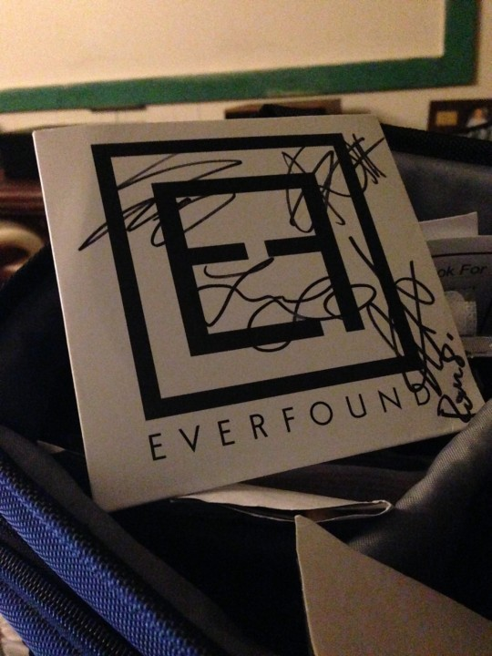 My signed Everfound EP.  I've been carrying this around in my camera bag since I met the band in November when they were on the Into the Light Tour with Matthew West.  I knew then they were going to make it big!